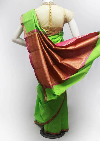 Parrot Green with Pink Semi Silk Saree- FR96743 ARRS Silks