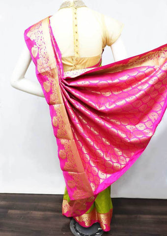 Parrot Green with Pink Semi Silk Saree - FS33163 ARRS Silks