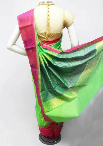 Parrot green with Pink Silk Cotton Saree - FR123269 ARRS Silks
