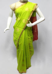 Parrot Green with Pink Silk Cotton Saree - FR123728 ARRS Silks