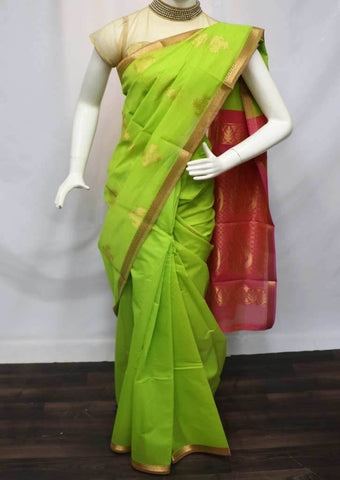 Parrot Green with Pink Silk Cotton Saree - FU27627 ARRS Silks