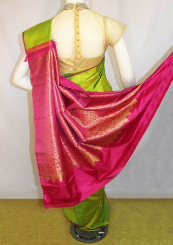 Parrot Green With Pink Soft Silk Saree -EZ16818 ARRS Silks