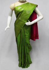 Parrot Green with Pink Soft Silk Saree -FQ111141 ARRS Silks