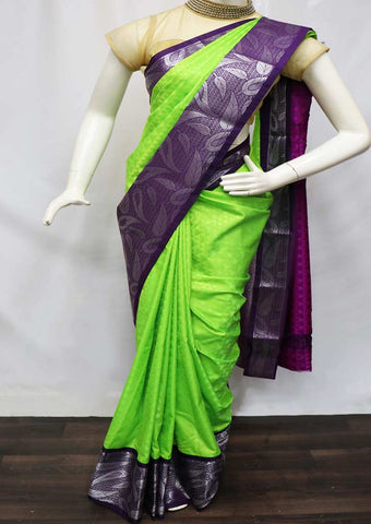 Parrot Green With Purple semi silk saree  - GA71767 ARRS Silks