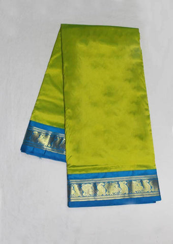 Parrot Green with Ramar Blue Color 9.5 Yards Silk Saree - FO89640 ARRS Silks