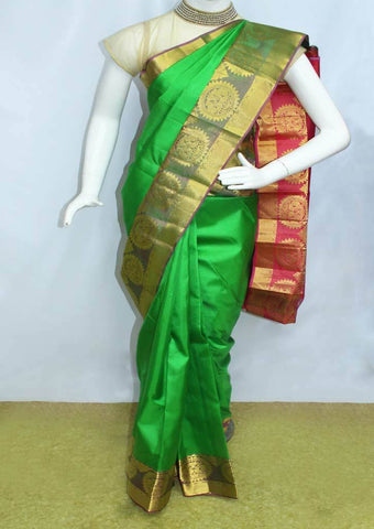 Parrot Green With Red  Kanchipuram Silk Saree-FO6532 ARRS Silks