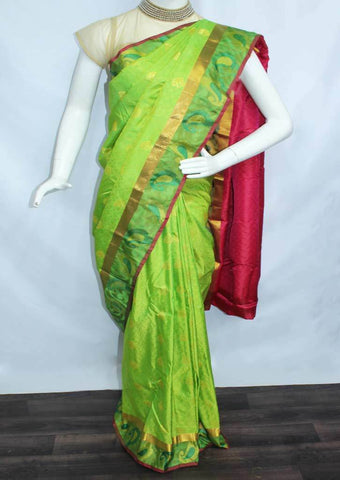 Parrot Green With Red Semi Silk Saree- FN68679 ARRS Silks