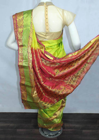 Parrot Green with Red Semi Silk Saree- FN68717 ARRS Silks