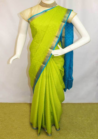 Parrot Green with Sky blue Mysore Silk Saree-FI68329 ARRS Silks