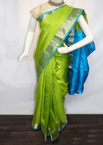 Parrot Green with Sky Blue Soft Silk Saree - GE40123 ARRS Silks