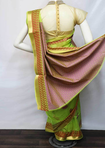 Parrot Green With Violet Silk Cotton Saree - FV10329 ARRS Silks