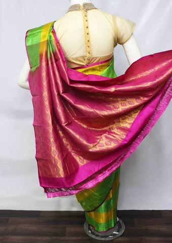 Parrot Green With Yellow Kanchipuram Silk Saree -HBK9681 ARRS Silks