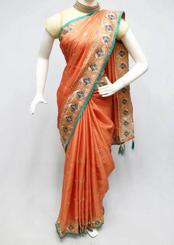 Peach Color blue Designer Saree - FN73494 ARRS Silks