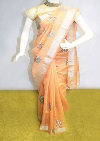 Peach color  Linen Saree - FL39498 ARRS Silks