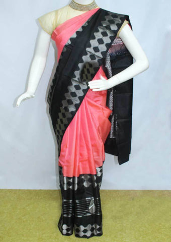 Peach With Black  Kanchipuram Silk Saree-FM83170 ARRS Silks