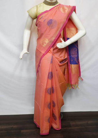 Peach With Blue Silk Cotton Saree -FU21590 ARRS Silks