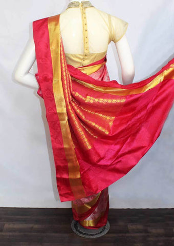 Peach With Dark Pink Semi Silk Saree- FL6656 ARRS Silks