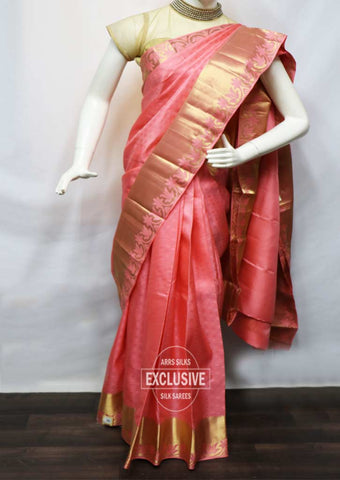Peach With Golden Kanchipuram Silk Saree - FN80533 ARRS Silks