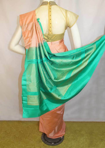 Peach With Green Soft Silk Saree -FL87112 ARRS Silks