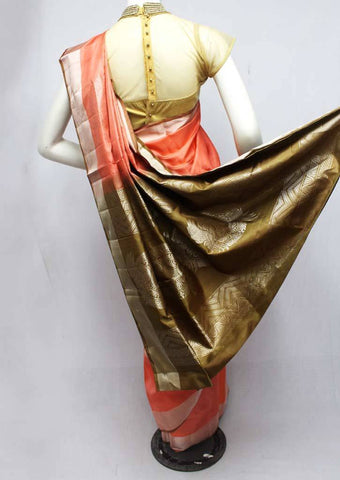 Peach with Green Soft Silk Saree -FQ38490 ARRS Silks