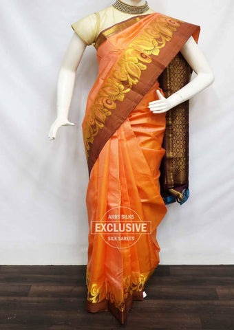 Peach with naaval Kanchipuram Silk Saree -FU70961 ARRS Silks