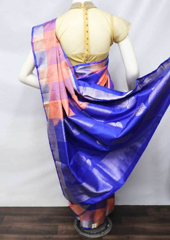 Peach with Pepsi Blue Checked Soft Silk Saree - FU45308 ARRS Silks