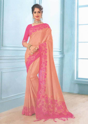 Peach with Pink Color Fancy Saree-FS7574 ARRS Silks