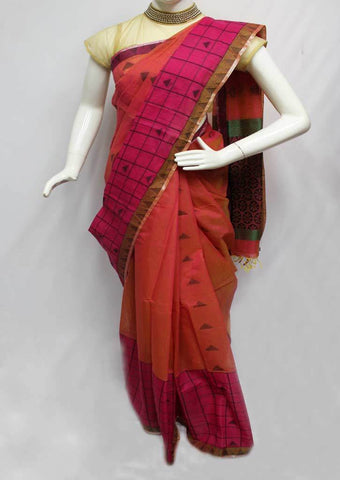 Peach with Pink Shade Silk Cotton Saree - FQ110879 ARRS Silks