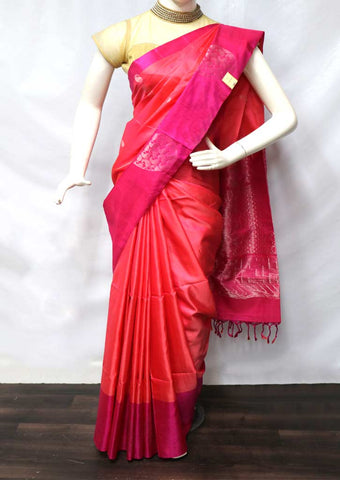 Peach With Pink Soft Silk Saree - FU44280 ARRS Silks