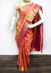 Peach with Pink Wedding Silk Saree - EU2736 ARRS Silks