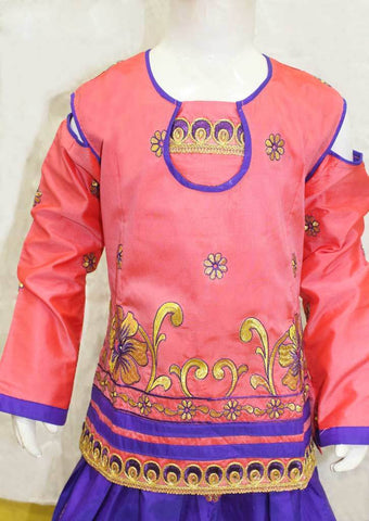Peach With Purple Pattu Pavadai - FO21261 ARRS Silks