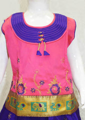 Peach With Violet Pattu Pavadai - FO21167 ARRS Silks