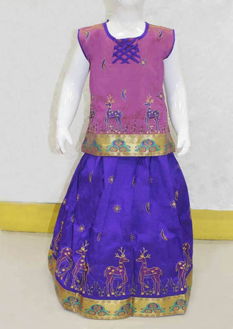 Peach With Violet Shade Pattu Pavadai - FO21230 ARRS Silks