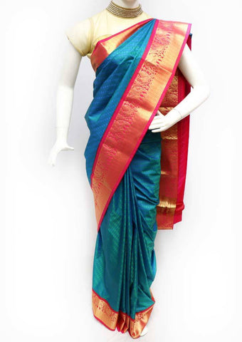 Peacock Blue and Peacock Green Semi Silk Saree - FS43773 ARRS Silks