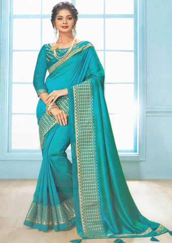 Peacock Blue Color Fancy Saree-FS7577 ARRS Silks