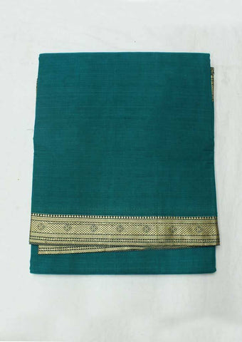 Peacock Blue Pure Cotton 9.5 yards Saree - F096406 ARRS Silks
