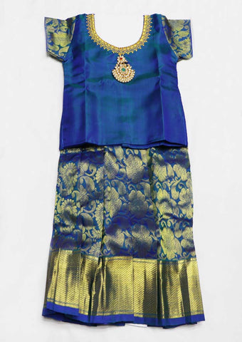 Peacock Blue Pure silk Stitched pattu pavadai - FX12524 ( Age-1 year and below) ARRS Silks