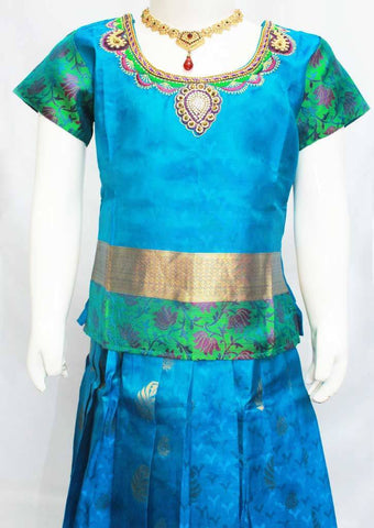 Peacock Blue Readymade Pure silk pavadai  - FP14269 (Age - 7 years) ARRS Silks