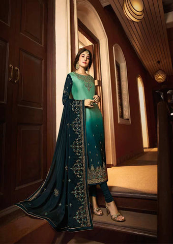 Peacock Blue Satin Georgette Grand Chudi Material -FQ67185 ARRS Silks