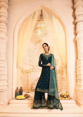 Peacock blue Satin Georgette Grand Chudi Material -FQ67209 ARRS Silks