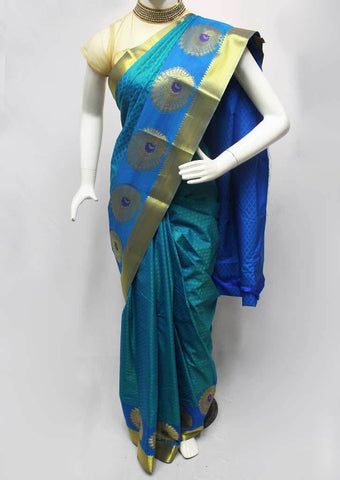 Peacock Blue Semi Silk Saree- FR33578 ARRS Silks