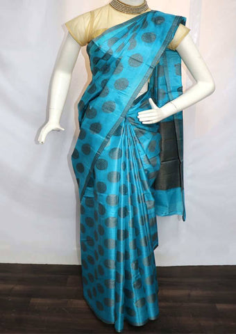 Peacock Blue with Brown Tussar Silk Saree - FV9976 ARRS Silks