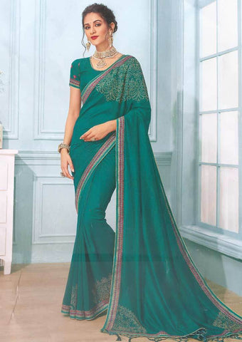 Peacock Blue with Designer Saree- FS7556 ARRS Silks