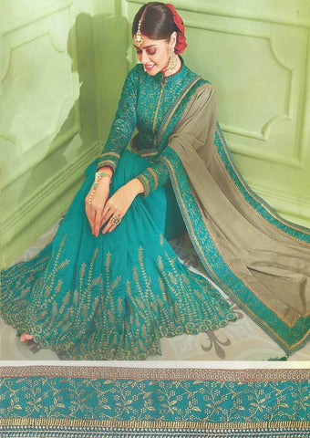 Peacock Blue with Gray Designer Saree - FS31720 ARRS Silks