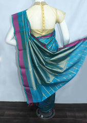 Peacock Blue with Light golden Checked Silk Cotton Saree - FL60332 ARRS Silks