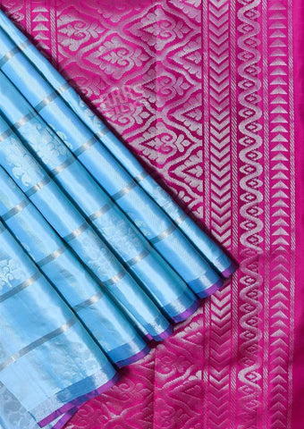 Peacock Blue with Peacock Green Soft Silk Saree -FQ38456 ARRS Silks