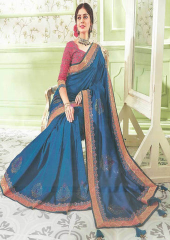 Peacock Blue with Pink Designer Saree - FS31708 ARRS Silks