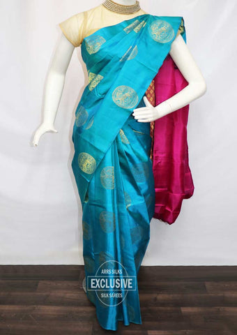 Peacock Blue with Pink Kanchipuram Silk Saree - EY1340 ARRS Silks