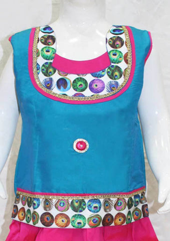 Peacock BlueWith Dark Pink Pattu Pavadai - FC64 ARRS Silks