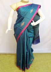 Peacock Green Organza Cotton Sarees- F087567 ARRS Silks